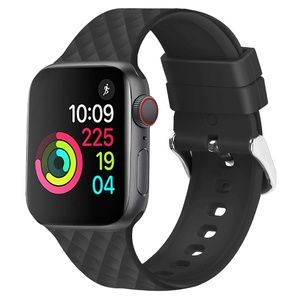 NEW[BAND] BLACK Rhomboid Silicone For Apple Watch